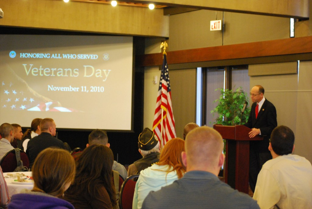 Congressman Greg Walden congratulated SOU for their work with the ROTC program. Photo by Emily Albertson/The Siskiyou