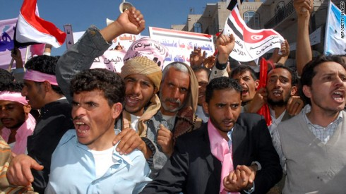 Yemeni protesters rally for government reform in the nations capital, Sanna, Sun., Feb., 20