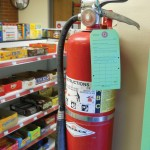 A fire extinguisher in one of Southern Oregon University's residence halls