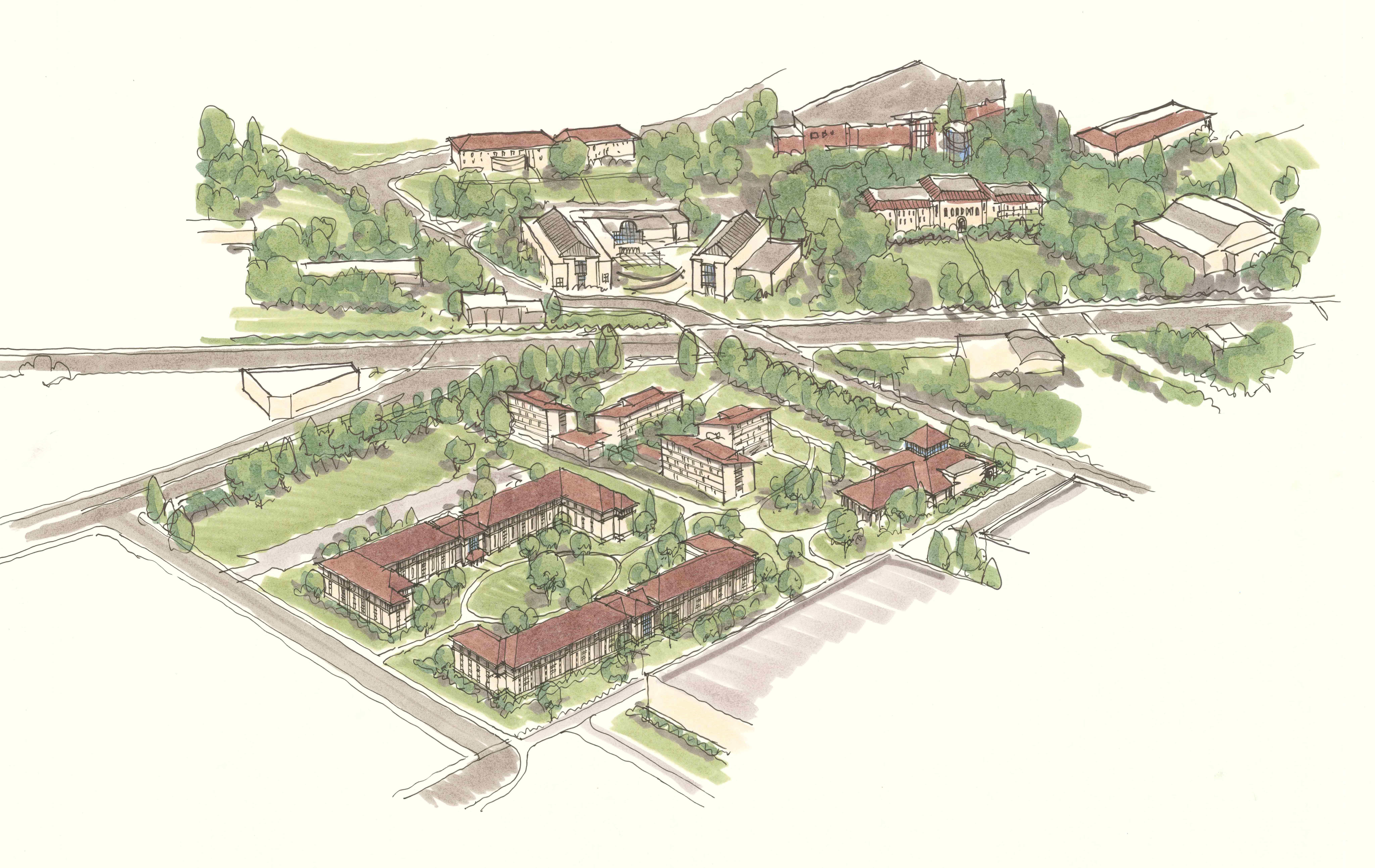 An artist's rendering of the proposed residence hall complex. The new hall, located in the bottom center-left of the graphic, would replace the aging Cascade Complex (not pictured), which currently uses over 60 percent of the university's steam heat generation. The project is expected to break ground next April, and be operational in fall of 2012.
