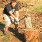 SOU student Edwin Meyer splits wood at one of the Jackson County Fuel Committee's weekly wood cuts.