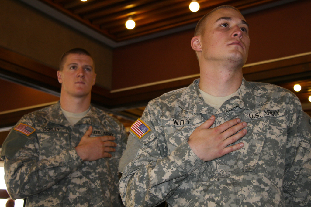 Reserve Officers' Training Corps cadets Shane Corley (left) and Matthew Witt (right) at the Veterans Day Reception in the Rogue River Room of the Stevenson Union on Thursday, Nov. 10.