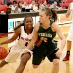 SOU sophomore, RaTanya Newsome dodges opposing players during the game on Saturday. Photo by Troy Goossen/The Siskiyou