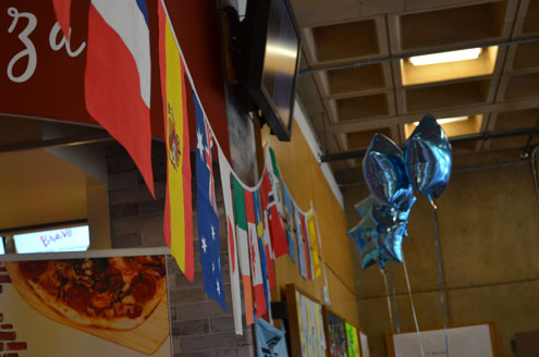Flags hung in the SU for international week. (Karoline Curcin/The Siskiyou)