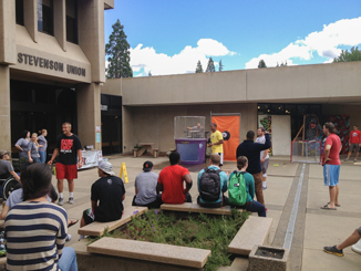 Fun times at the dunk tank where students tested their aim to dunk the poor victim. (Karoline Curcin/The Siskiyou)
