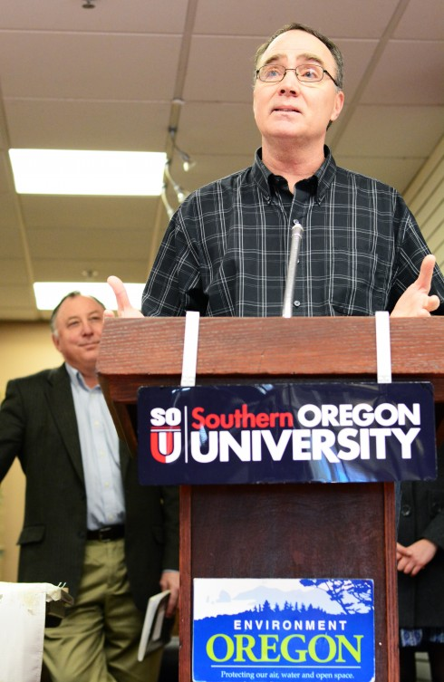 OSPIRG Press conference. (The Siskiyou/Robbie Wilkins)