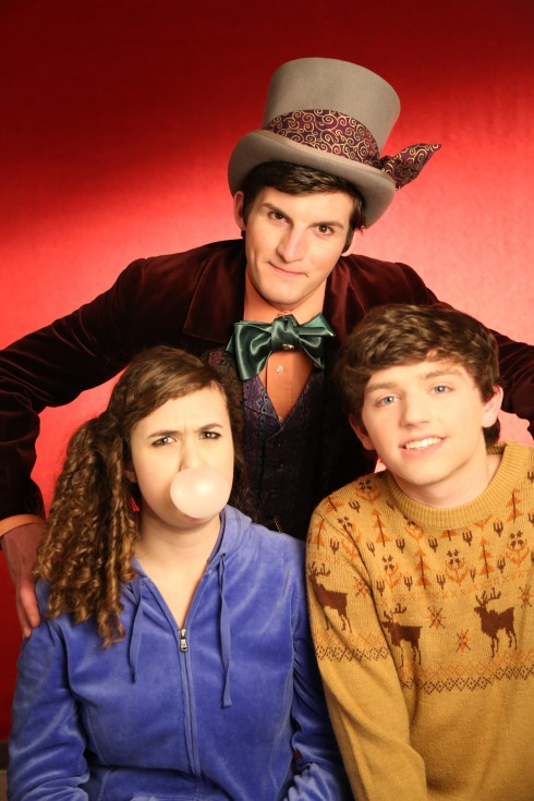 From left: Sarah Mitchell (Violet Bearegarde), Samuel Wick (Willy Wonka) and Austin Weyand (Charlie Bucket). Photo via Greg Eliason