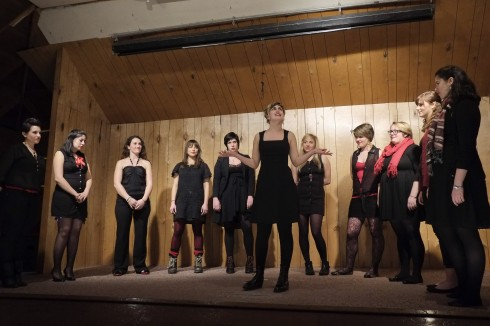 The cast of the 2013 Vagina Monologues on stage at the Bellview Grange. Photo via Muuqi Maxwell/The Siskiyou