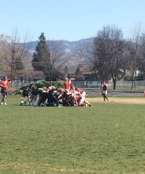 A scrum during the womens match