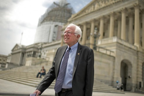 UNITED STATES - APRIL 30: Presidential candidate Sen. Bernie Sanders, I-Vt., makes his way a news conference at the Senate swamp to speak about his agenda for the country, April 30, 2015. (Photo By Tom Williams/CQ Roll Call)