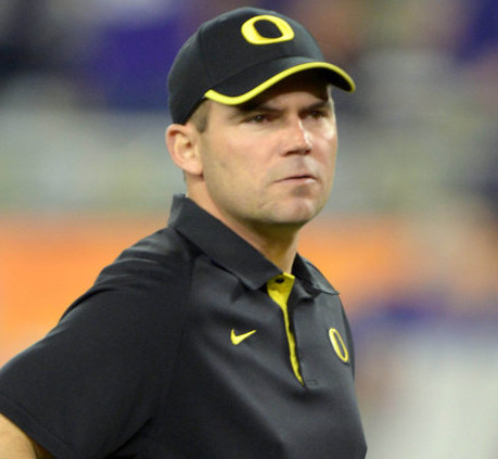 Jan 3, 2013; Glendale, AZ, USA; Oregon Ducks offensive coordinator Mark Helfrich looks on before the 2013 Fiesta Bowl against the Kansas State Wildcats at University of Phoenix Stadium.  Mandatory Credit: Kirby Lee/Image of Sport-USA TODAY Sports