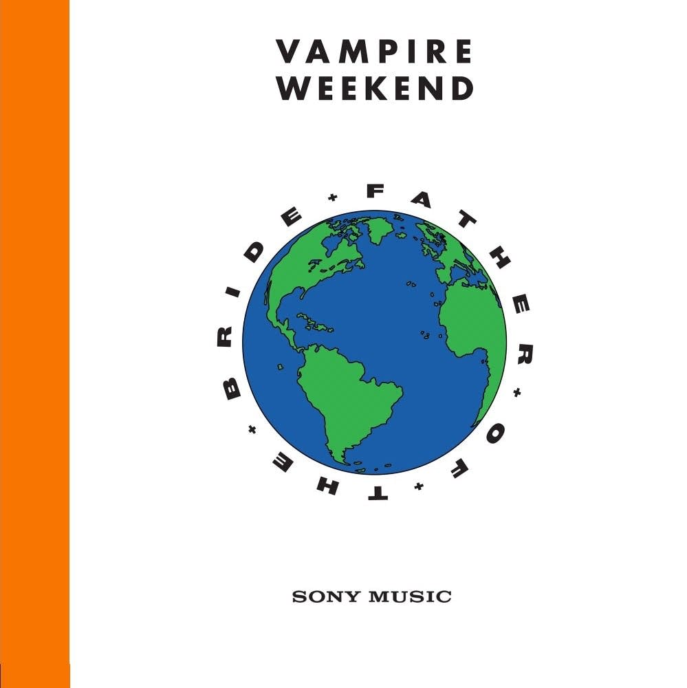 The words Vampire weekend and a globe as the newest album cover